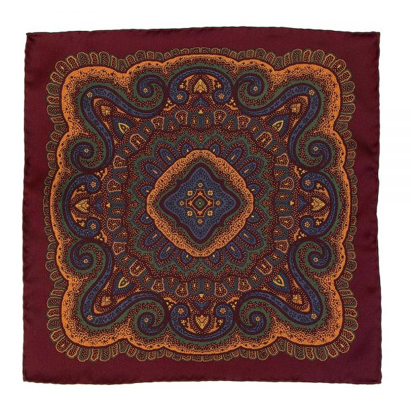 Handmade Italian Bordeaux Pattern Hand Rolled Silk Pocket Square