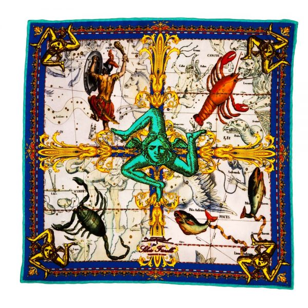 Handmade Italian Water Element Zodiac Pocket Square