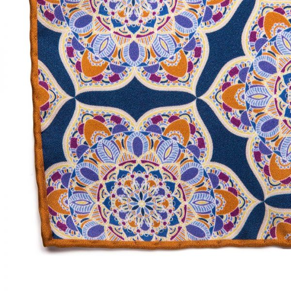 Handmade Italian Pocket Square Blue Mosaic Flowers Pocket Square