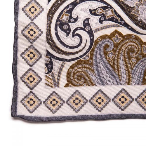Handmade Italian Pocket Square Classic Paisley Motif Silk Pocket Square