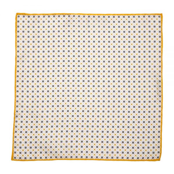Handmade Italian Pocket Square Classic Motif White and Yellow Silk Pocket Square