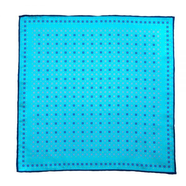 Handmade Italian Pocket Square Aqua Marine Geometric Motif Silk Pocket Square