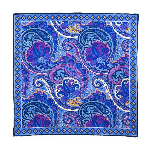 Handmade Italian Pocket Square Light Blue Paisley Motif Silk Pocket Square