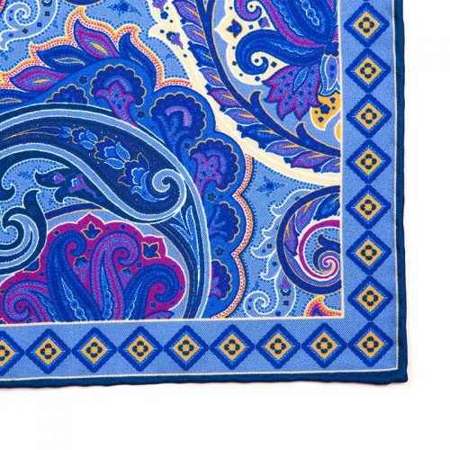 Italian Pocket Square Light Blue Paisley Motif Silk Pocket Square