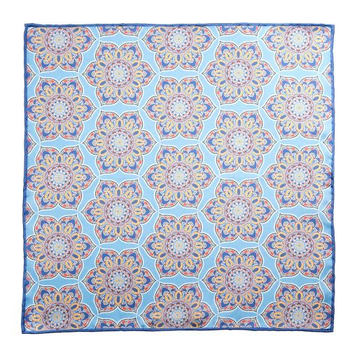 Handmade Italian Pocket Square Light Blue Mosaic Flowers Silk Pocket Square