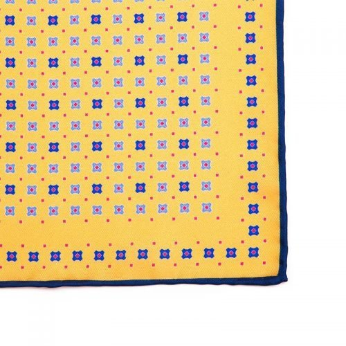 Italian Pocket Square Yellow Geometric Motif Silk Pocket Square