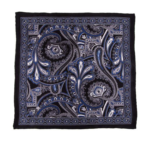 Handmade Italian Pocket Square Black Paisley Ornamental Motif Silk Pocket Square