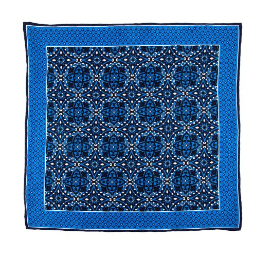 Handmade Italian Pocket Square Blue Macro Medallions Silk Pocket Square