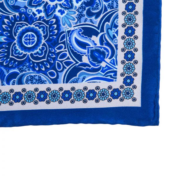 Italian Pocket Square Blue and Grey Rich Flowers Silk Pocket Square