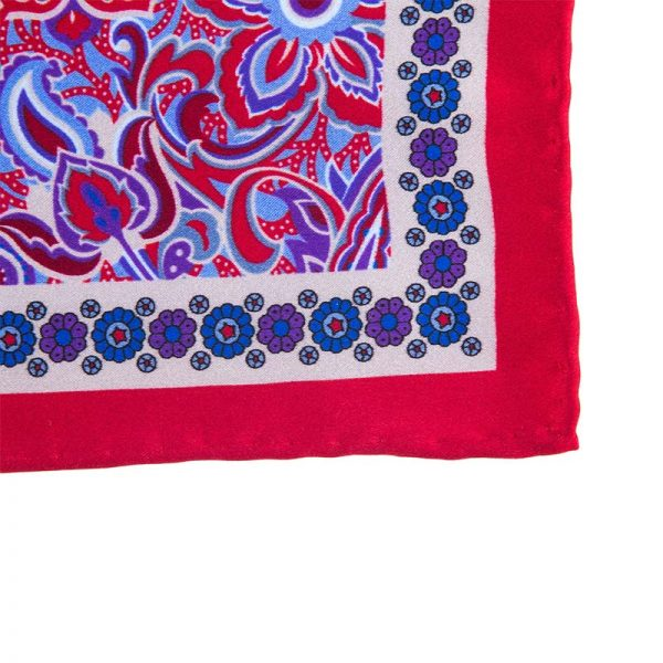 Italian Pocket Square Red Rich Flowers Silk Pocket Square