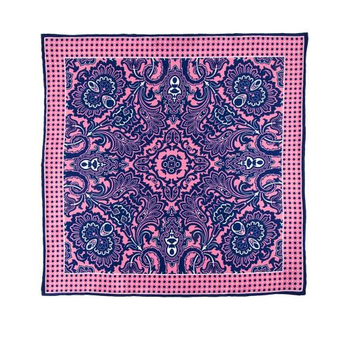 Handmade Italian Pocket Square Pink and Blue Ornamental Motif Silk Pocket Square
