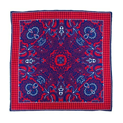 Handmade Italian Pocket Square Red and Blue Ornamental Motif Silk Pocket Square