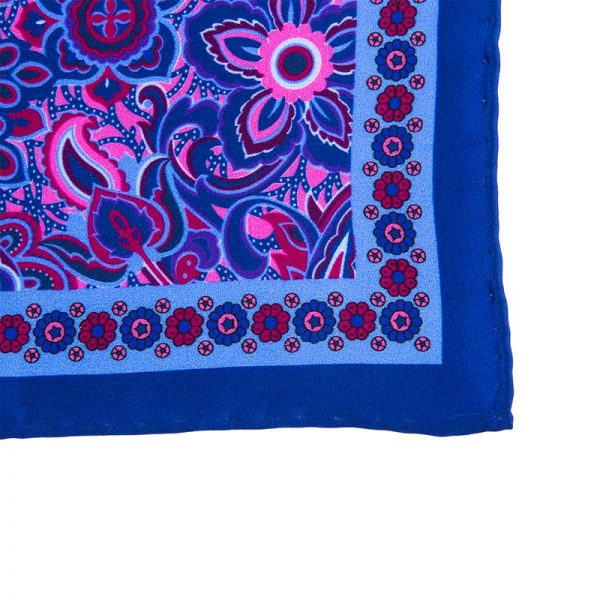 Handmade Italian Pocket Square Blue Rich Flowers Silk Pocket Square
