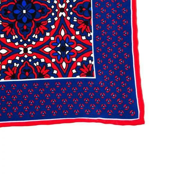 Italian Pocket Square Blue and Red Macro Medallions Silk Pocket Square