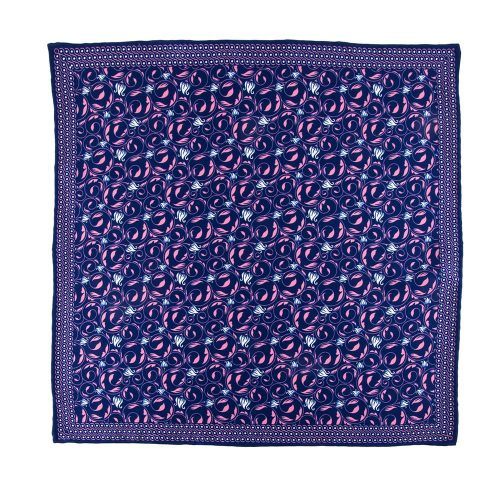 Handmade Italian Pocket Square Blue and Pink Flowers Leafs Motif Silk Pocket Square