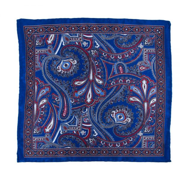 Handmade Italian Pocket Square Blue and Red Paisley Ornamental Silk Pocket Square