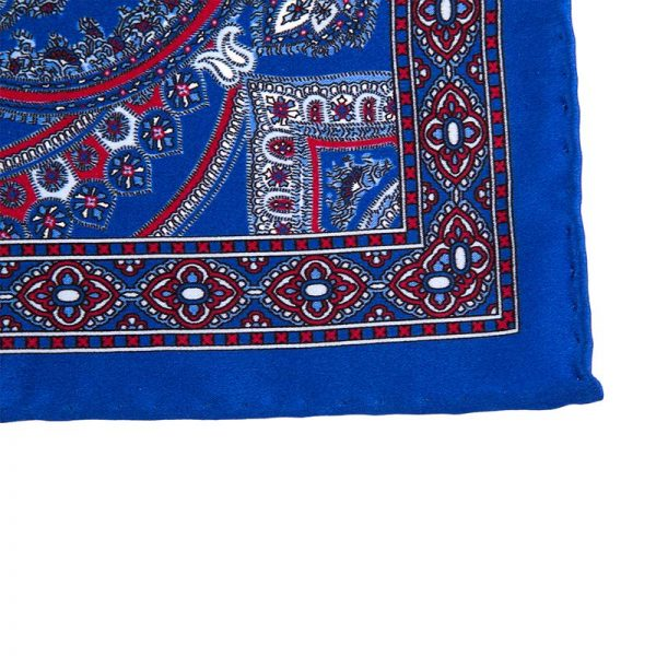 Italian Pocket Square Blue and Red Paisley Ornamental Silk Pocket Square