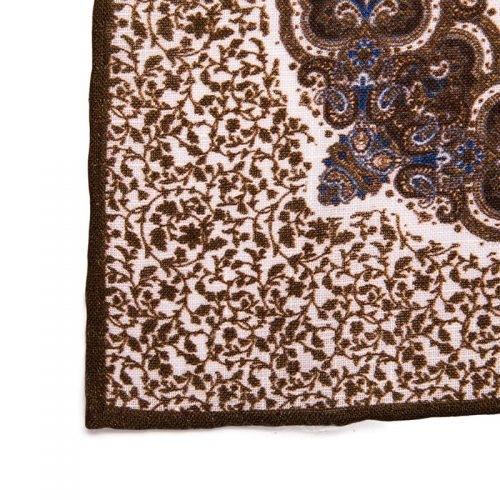 Handmade Italian Pocket Square Brown Rich Paisley Linen Pocket Square