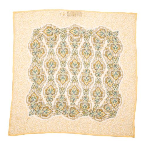 Handmade Italian Pocket Square Yellow Rich Paisley Linen Pocket Square