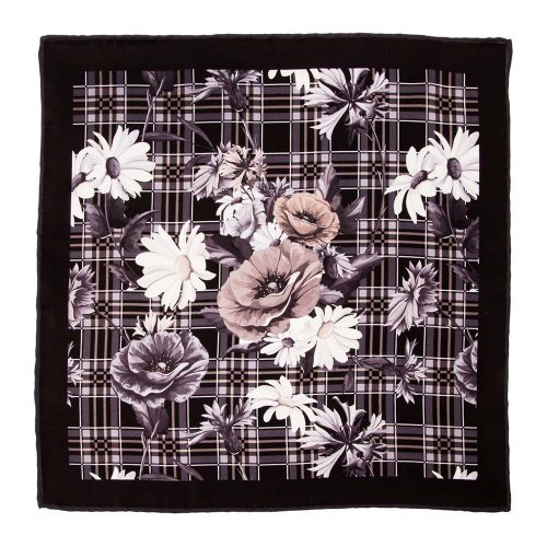 Handmade-Italian-Pocket-Square Black Tartan and Flowers Silk Pocket Square