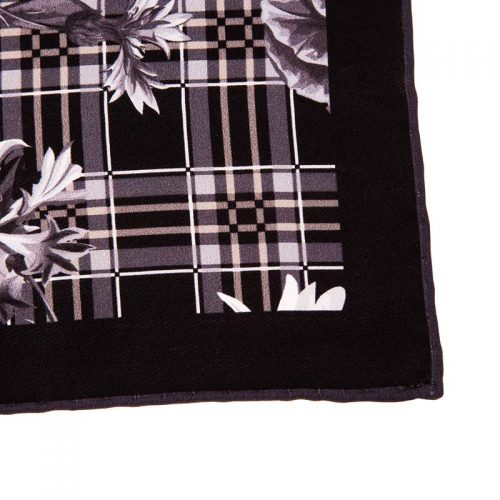 Italian-Pocket-Square Black Tartan and Flowers Silk Pocket Square