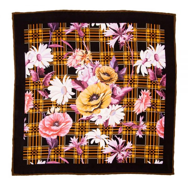 Handmade-Italian-Pocket-Square Multicolour Tartan and Flowers Silk Pocket Square