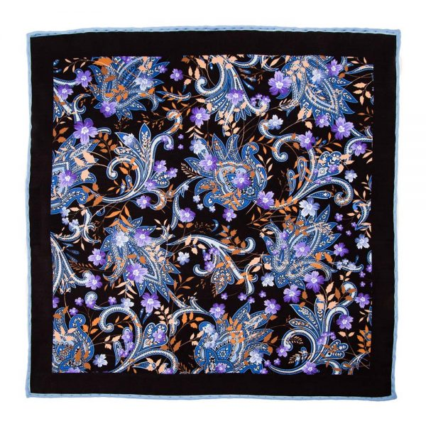 Handmade-Italian-Pocket-Square Black Paisley Flowers and Leaves Silk Pocket Square