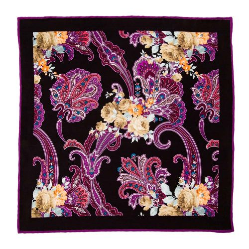 Handmade-Italian-Pocket-Square Black Multicolour Paisley Flowers Silk Pocket Square