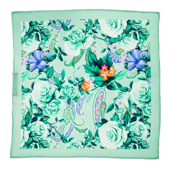 Handmade-Italian-Pocket-Square Green Flowers and Paisley Silk Pocket Square