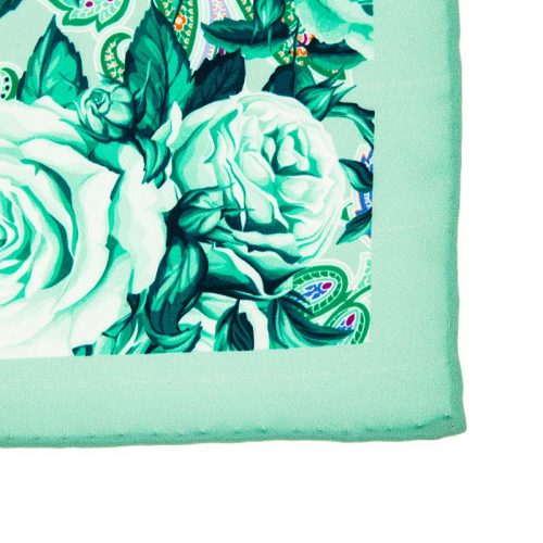 Italian-Pocket-Square Green Flowers and Paisley Silk Pocket Square