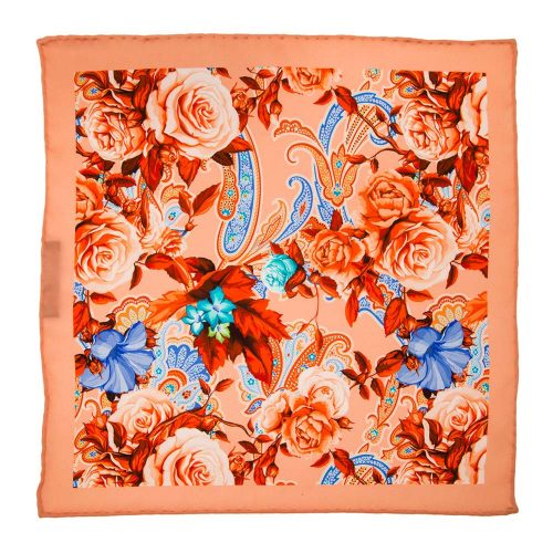 Handmade-Italian-Pocket-Square Peach Flowers and Paisley Silk Pocket Square