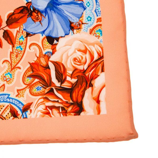 Italian-Pocket-Square Peach Flowers and Paisley Silk Pocket Square