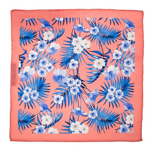 Handmade-Italian-Pocket-Square Coral Flowers and Palms Silk Pocket Square