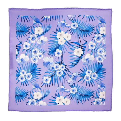 Handmade-Italian-Pocket-Square Purple Flowers and Palms Silk Pocket Square