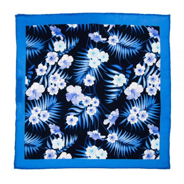 andmade-Italian-Pocket-Square Navy Flowers and Palms Silk Pocket Square
