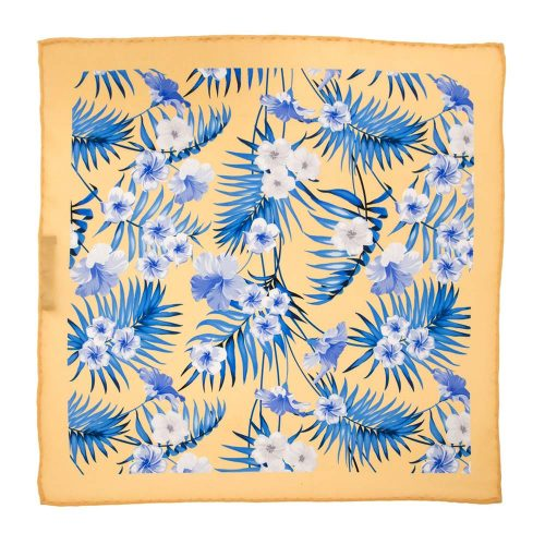 Handmade-Italian-Pocket-Square Yellow Flowers and Palms Silk Pocket Square