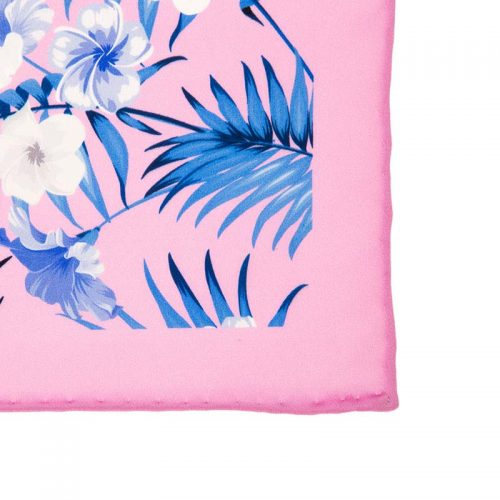 Handmade-Italian-Pocket-Square Pink Flowers and Palms Silk Pocket Squar