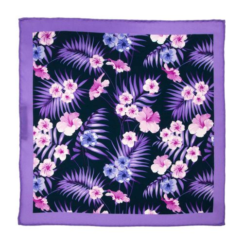 Handmade-Italian-Pocket-Square Blue and Purple Flowers Palms Silk Pocket Square