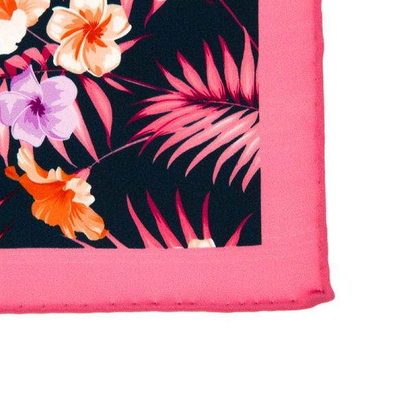 Italian-Pocket-Square Navy and Pink Flowers and Palms Silk Pocket Square