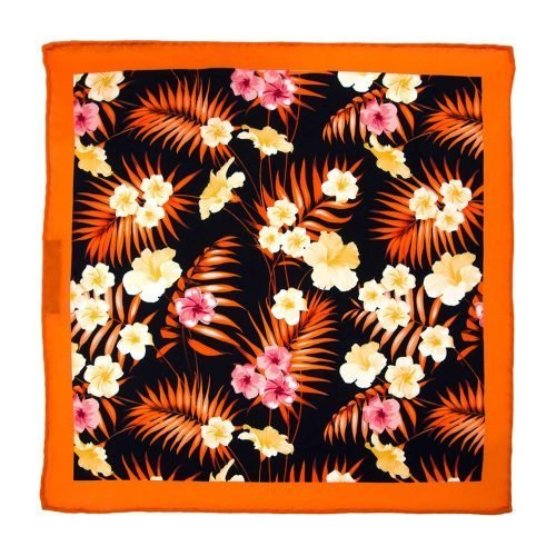 Handmade-Italian-Pocket-Square Navy Yellow Orange Flower Palm Silk Pocket Square