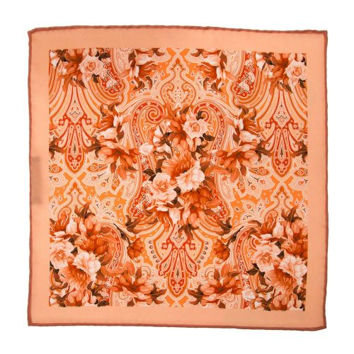 Handmade-Italian-Pocket-Square Peach Floral Paisley Silk Pocket Square