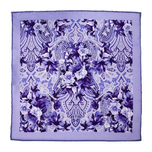 Handmade-Italian-Pocket-Square Purple Floral Paisley Silk Pocket Square