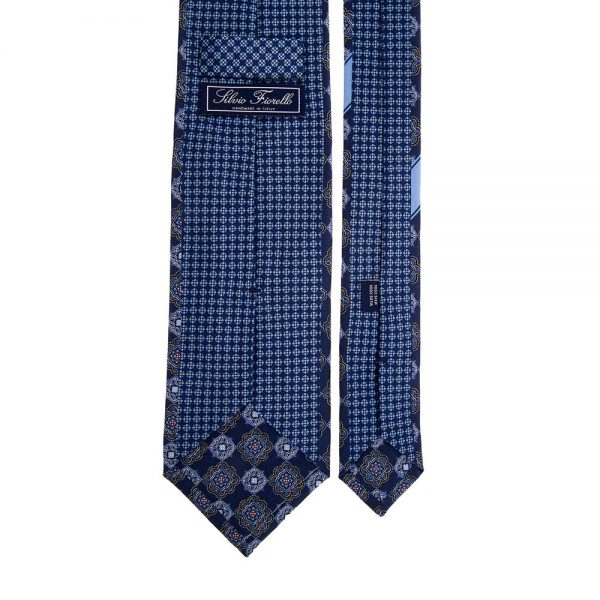 Navy Medallion and Micro Flowers Silk Tie