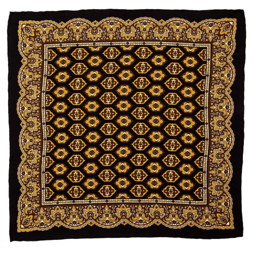 Handmade Italian Pocket Square Black Medallion and Ornamental Motif Silk Pocket Square
