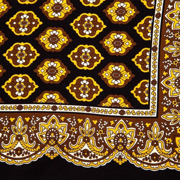 Black Medallion and Ornamental Motif Silk Pocket Square