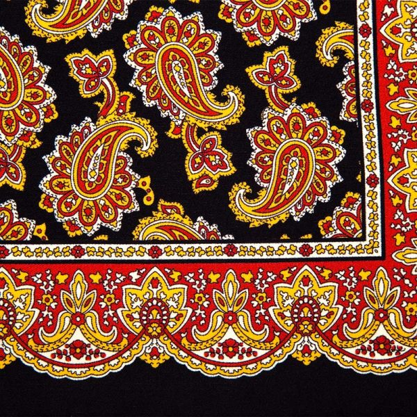 Black and Burgundy Paisley Motif Silk Pocket Square