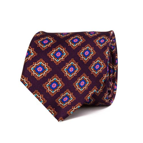 Handmade Italian Tie Dark Purple Medallion Satin Silk Tie