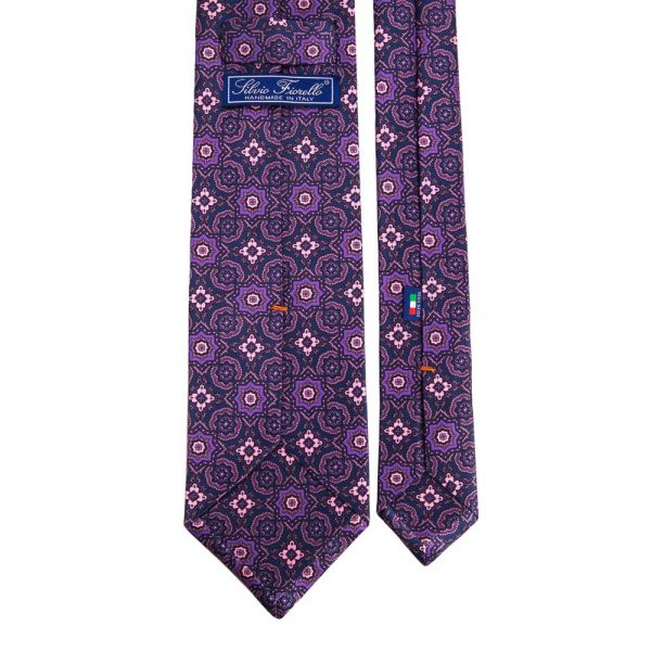 Purple Medallion Printed Satin Silk Tie