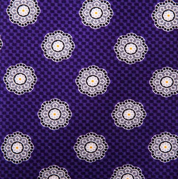 Purple Floral Medallion Satin Silk Tie