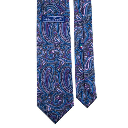 Grey Printed Satin Silk Tie
